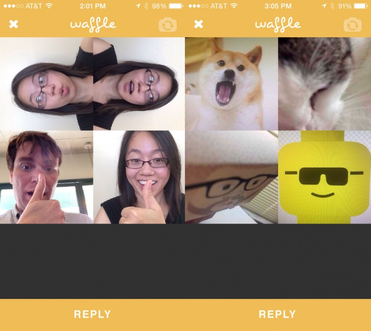 0923 waffle21 730x650 The Waffle app lets you remix your friends photos a la the Brady Bunch