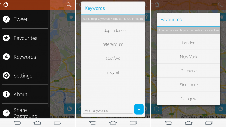 Castaround Settings 730x412 Castround for Android lets you view tweets by location