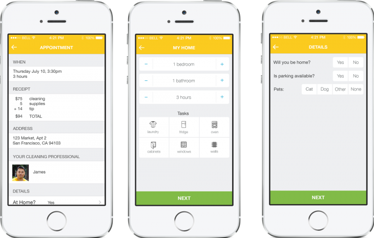 Homejoy ios 730x465 Homejoy launches its first cleaner booking app for iPhone