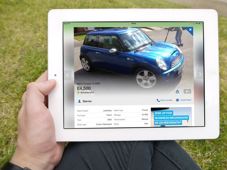 Motor on Ipad white 730x547 eBay owned Gumtree rebuilds its classifieds platform around mobile, launches new iPad app