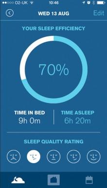 Sleepio sleep efficiency 220x387 Sleepio for iOS uses science and a cartoon Prof to help you get a good nights rest