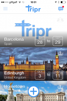 d7 220x330 Tripr for iPhone connects travelers who will be in the same place at the same time