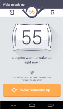 e 220x380 Forget alarm clocks, Wakie wakes you with phone calls from strangers