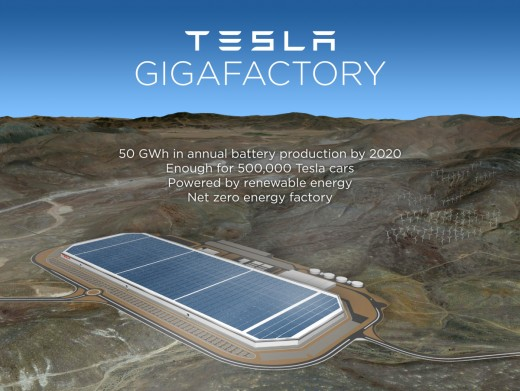 gigafactory aerial 520x391 Tesla chooses Nevada for its battery Gigafactory location