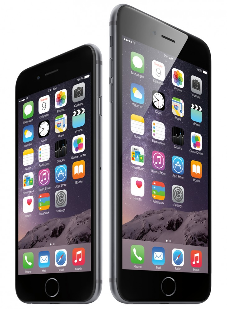 iPhone6 34FR SpGry iPhone6plus 34FL SpGry Homescreen PRINT 730x995 Apples supersized iPhones could leave people with small hands and pockets behind