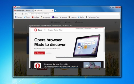o24 tab peek 520x325 Operas desktop browser now boasts over 1,000 extensions and comes with a tab preview feature