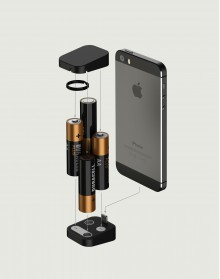 oivo exploded 220x279 Oivo hits Kickstarter with a tiny iPhone charger powered by four AA batteries