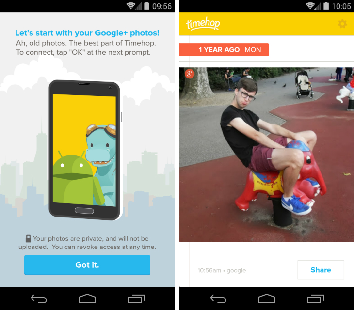 timehop2 Timehop for Android taps into Google+ to show your old photos stored with Auto backup