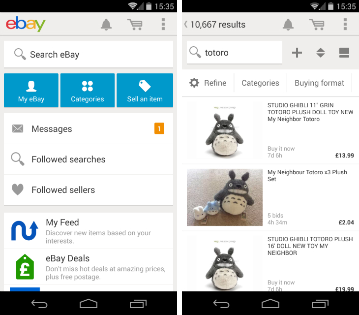 totoro1 eBay for Android gets a visual redesign, in app notifications, improved search results, and more