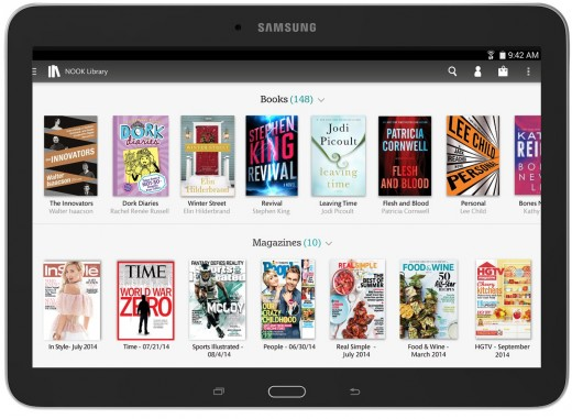 2 SamGal10 Front Library 520x381 Barnes & Noble launches a 10.1 inch version of its Samsung Galaxy Tab 4 Nook tablet for $299.99