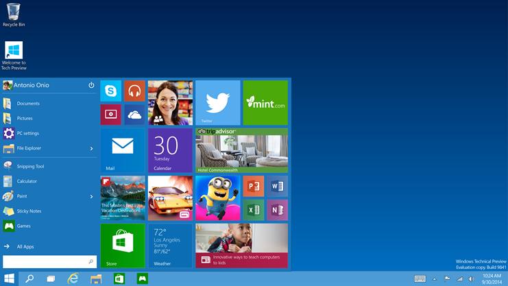 Screenshot of Window 10's desktop with the start menu open
