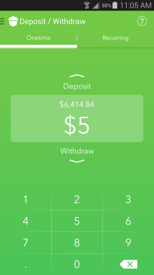 Deposit Withdraw 220x391 Acorns for Android helps you get rich by investing all your spare change