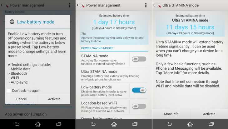 Power management 730x413 Sony Xperia Z3 review: Iterative upgrades in just the right places