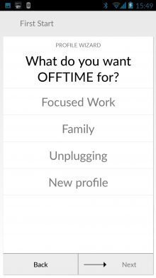 a1 220x391 Offtime for Android wants to help you turn off and tune out