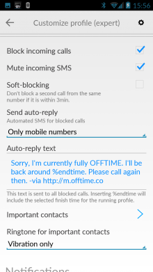 d1 220x391 Offtime for Android wants to help you turn off and tune out