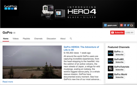 gopro youtube 520x323 How to integrate social media into unexpected parts of your business