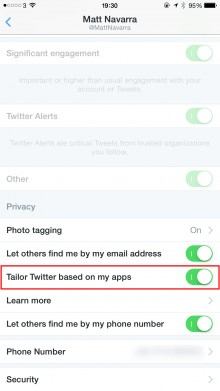 1126 twitterhowto1 220x391 How to stop Twitter from collecting app data for ads on your iPhone or Android phone