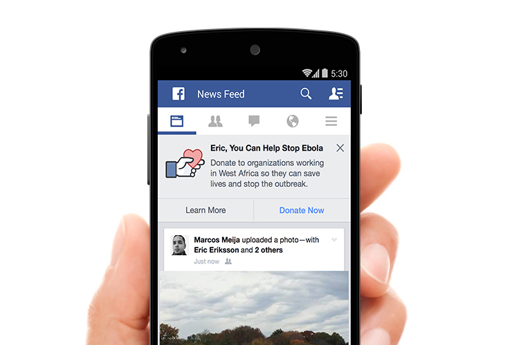 Facebook encourages users to donate to fight Ebola - The Next Web