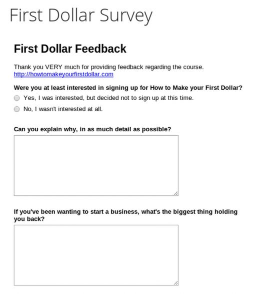 first dollar survey 520x587 A straightforward guide to the bumpy process of iterating products