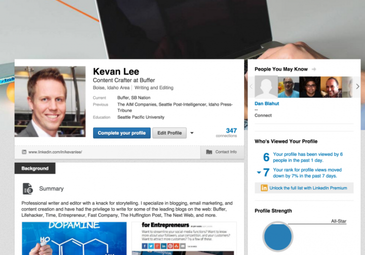 linkedin profile 800x560 730x511 How to get your first 1,000 followers on every social network