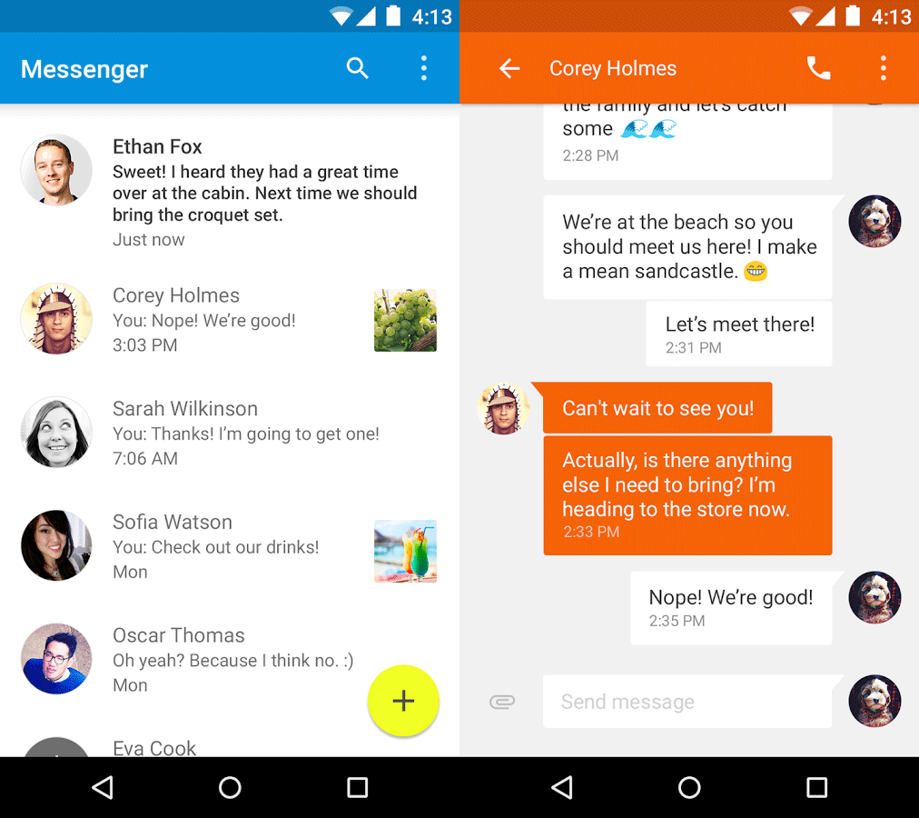 Google Releases Material Design Messenger App For Android