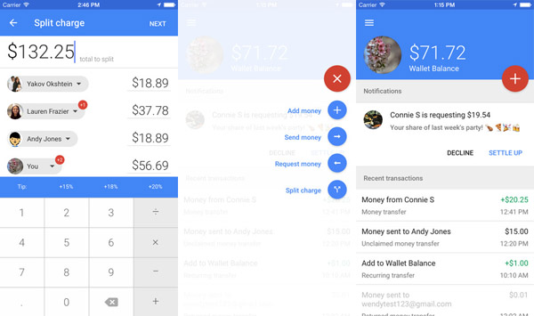 Google Wallet screenshots Google Wallet now lets iOS users split the check