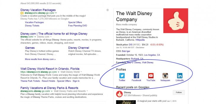 Disney 21 730x352 Google Search now directly links you to brands social profiles