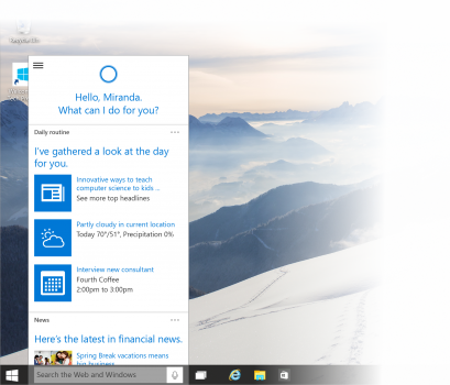 cortana 409x350 You can now download the newest Windows 10 preview with Cortana and the new Xbox app