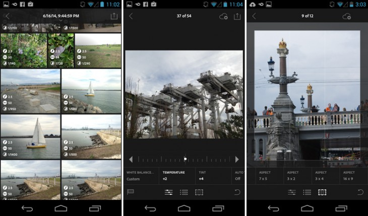 lightroom android10 730x429 Adobes new Lightroom Mobile for Android phones works almost the same as the iPhone app; a tablet version would be ideal