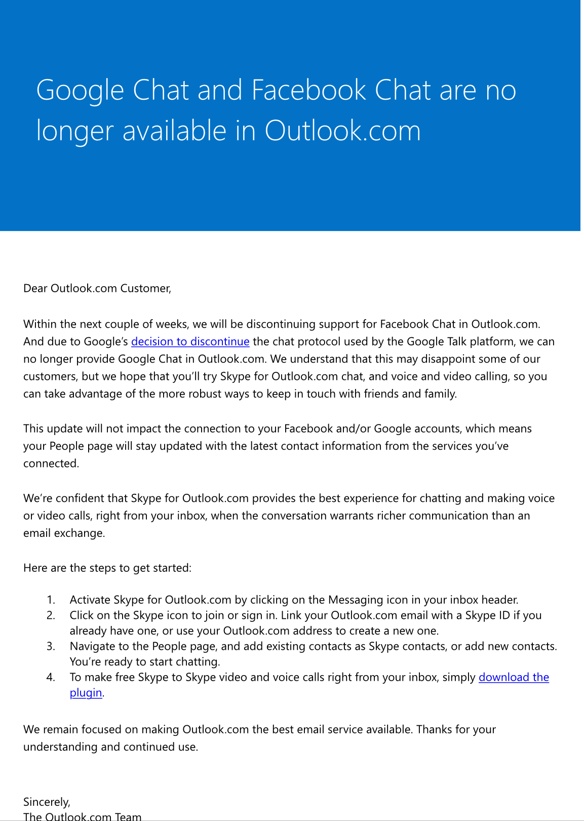 IMG 14171 Microsoft discontinues Facebook, Google chat in Outlook.com