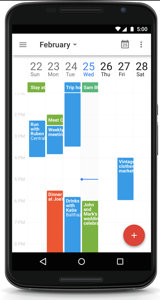 N6 weekview e1424884476217 Google updates Android Calendar app with 7 day week view, Drive integration and more