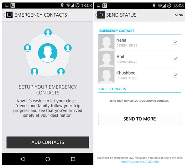 Send Status Ubers panic button is now live in India