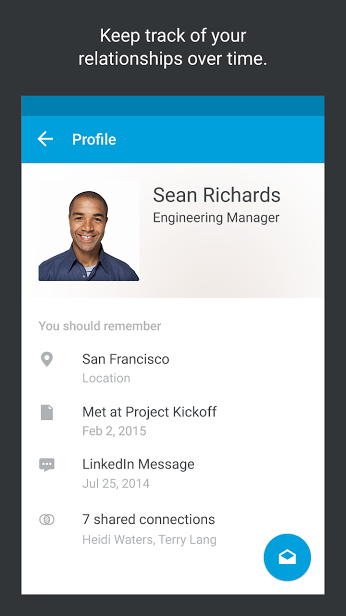 keeptrack1 LinkedIns Connected contacts app arrives on Android