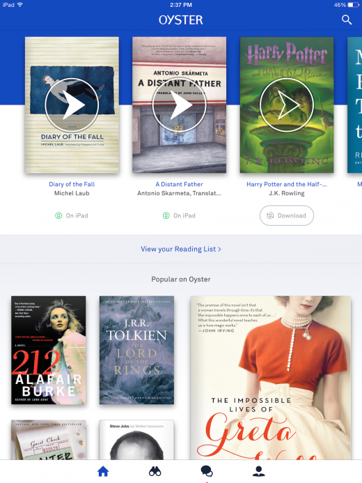 oyster home page 520x693 Oyster updates its app with a focus on contextual book recommendations