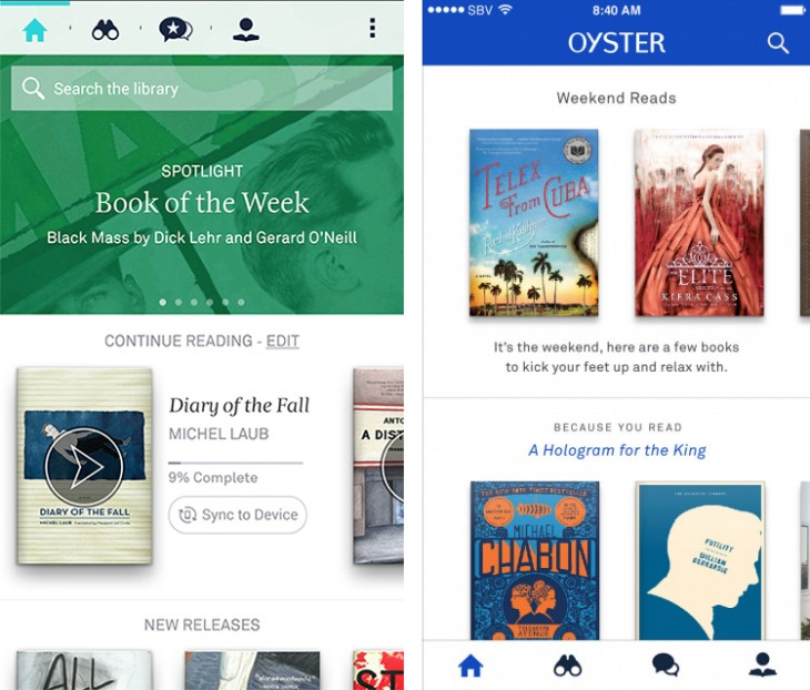 oysterbeforeafter 730x622 Oyster updates its app with a focus on contextual book recommendations