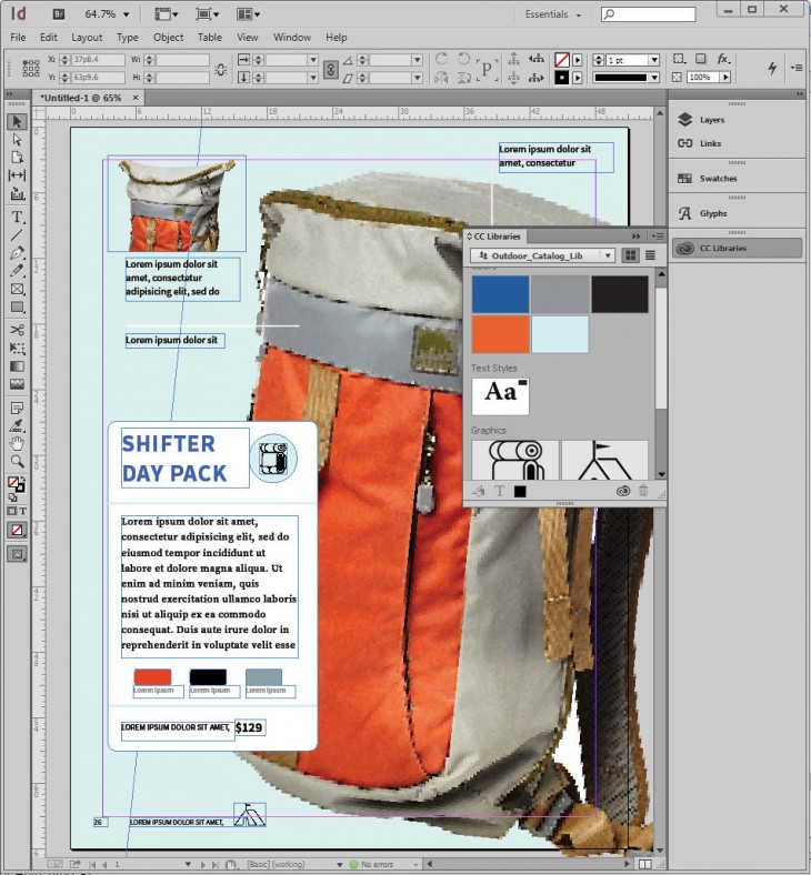 Comp doc in ID 730x788 Meet Adobe Comp CC, an iPad app that lets designers execute a complete layout on the go