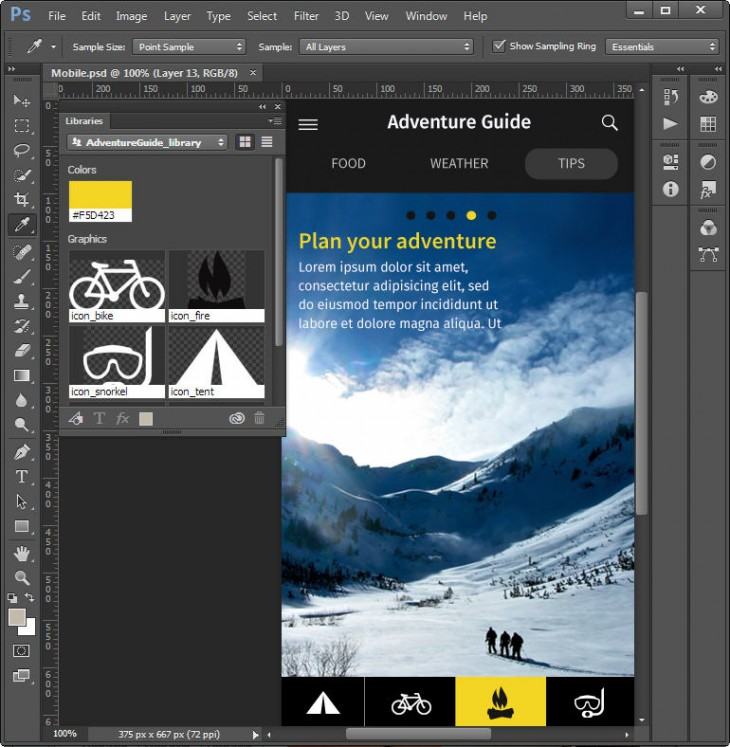Comp doc in PS 730x747 Meet Adobe Comp CC, an iPad app that lets designers execute a complete layout on the go