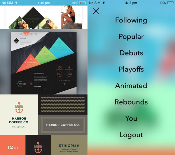 Design Shots screen Design Shots is a minimalist Dribbble client for iPhone