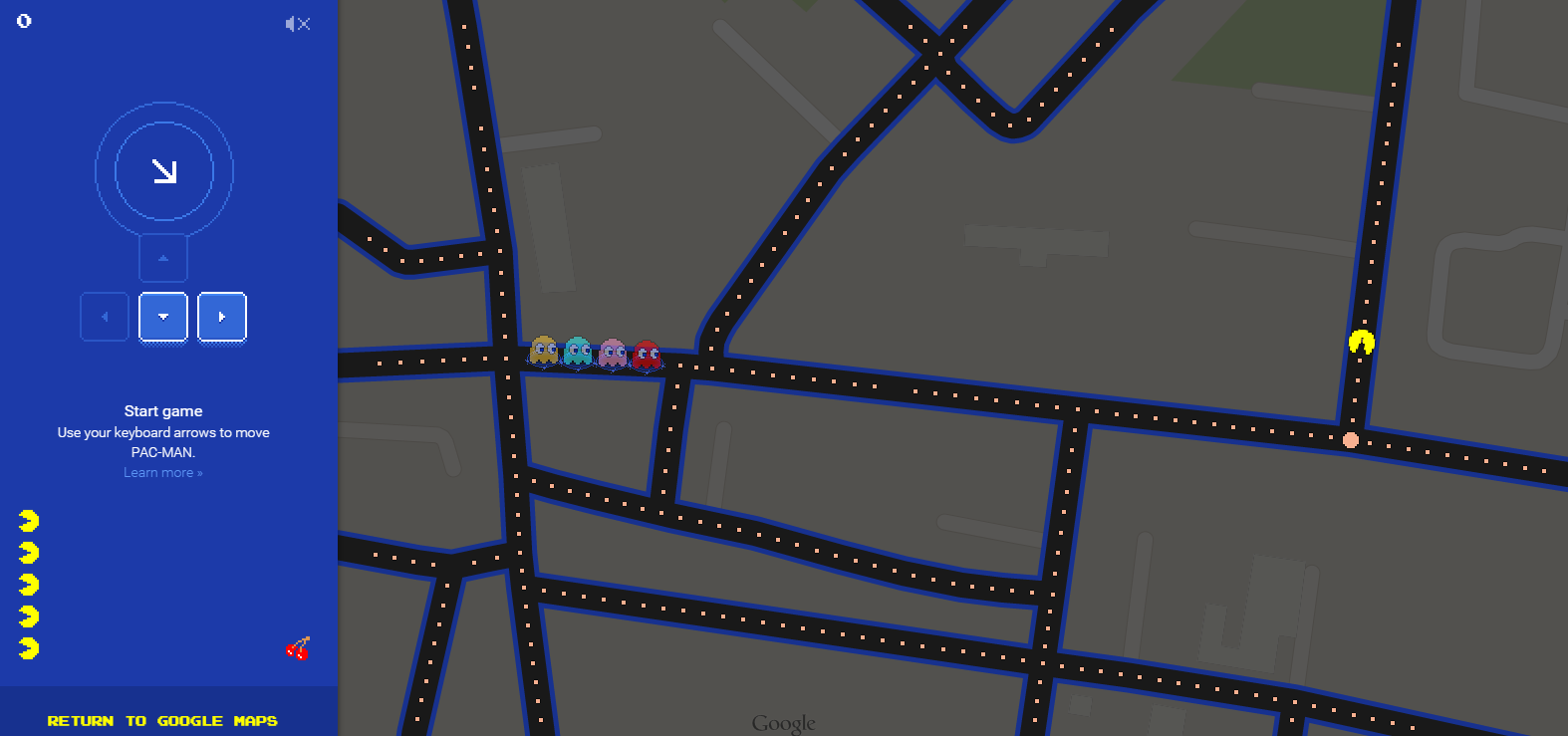 You Can Play Pac-Man Inside Google Maps, From Mobile Or