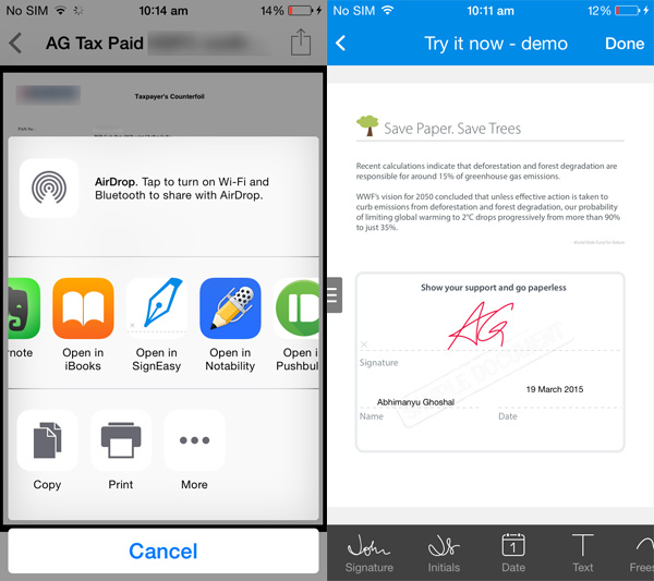 SignEasy screens SignEasys iOS extension lets you sign documents without switching between apps
