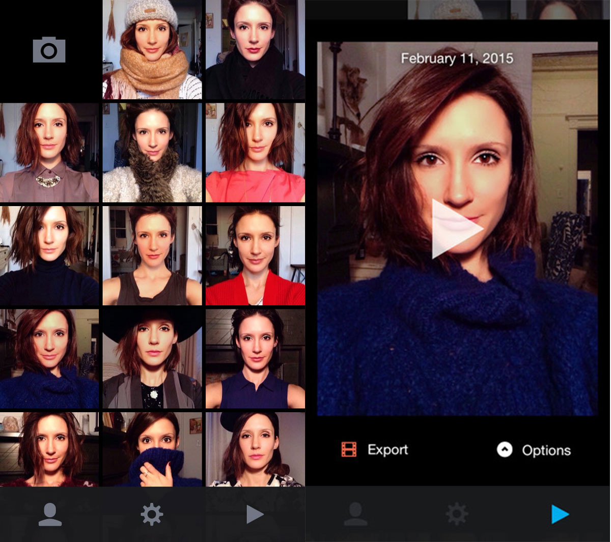 app Everyday for iPhone reminds you to take a selfie every day, merges them into a time lapse