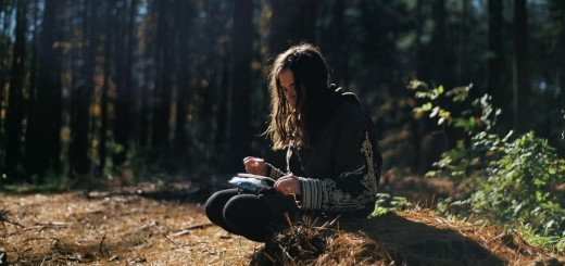 girl woods writing reading hiking