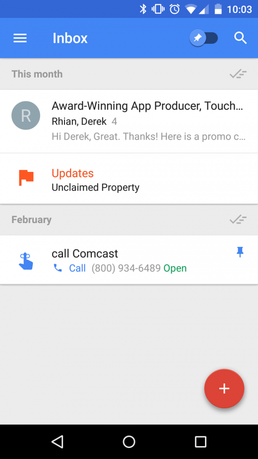 inbox 520x924 The 15 best Android apps that use material design
