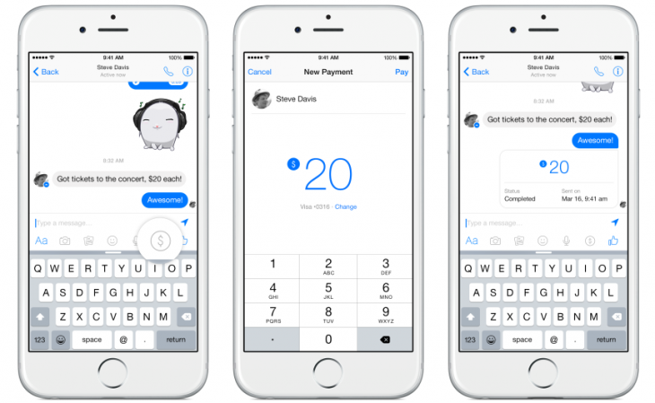 payments e1426619913285 730x449 Facebook Messenger now lets you pay your friends