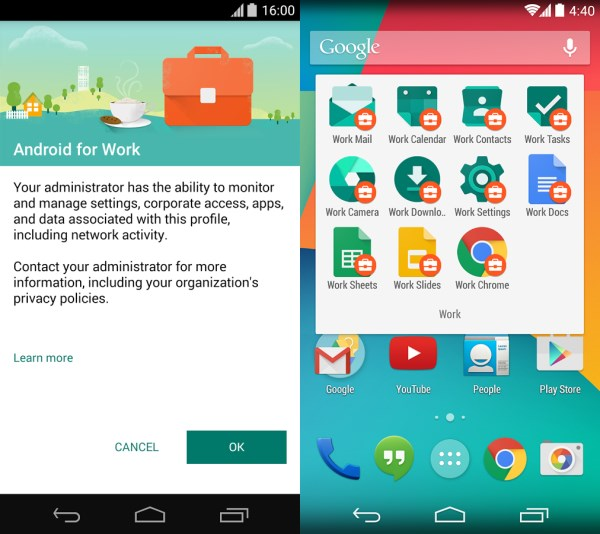 Android for Work Googles Android for Work app brings business users enterprise grade data security on older devices