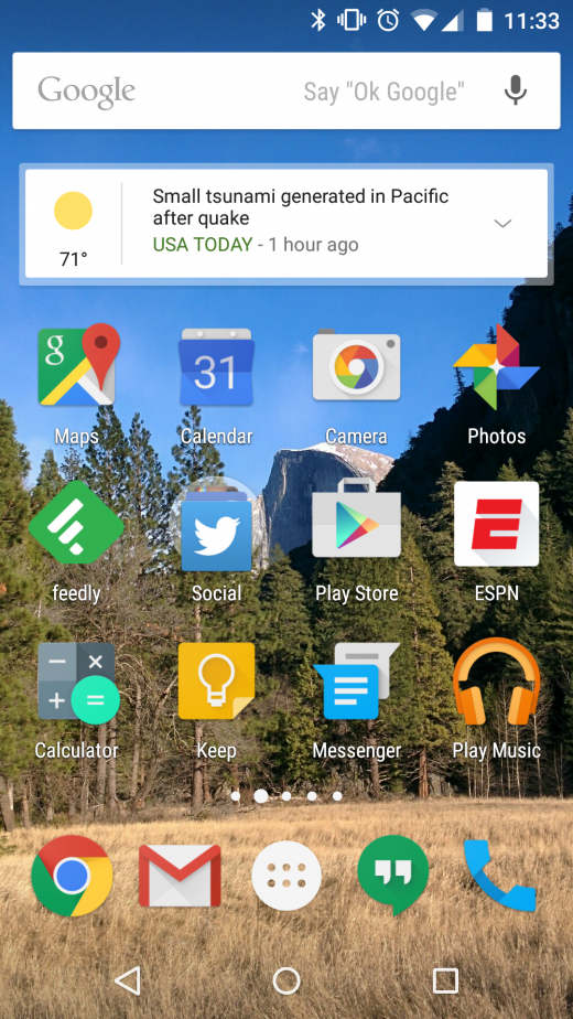 Android home screen 520x924 Apple iOS 8 v Android 5.1   which is best?