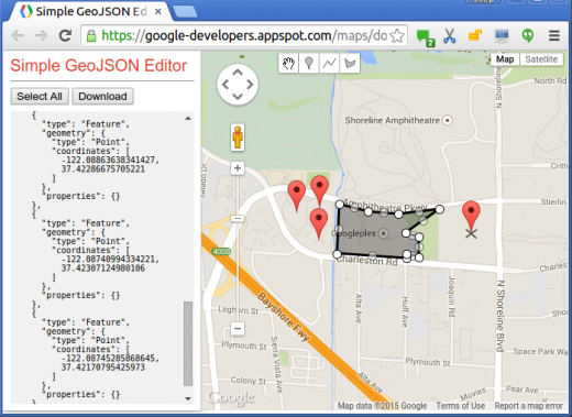 GeoJSON editor1 520x379 You can now use Google Maps Data Layers to create more powerful interactive apps