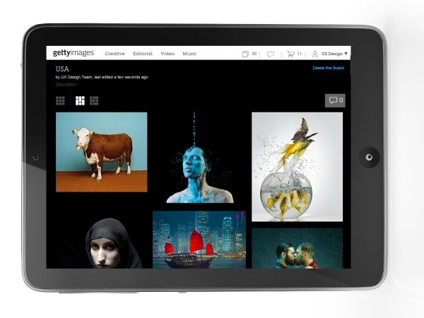 Getty Images iPad Getty Images adds Pinterest style Boards for easier photo curation