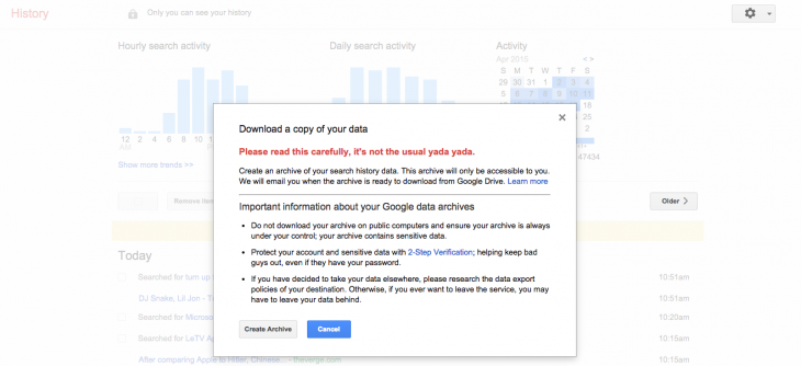 Screen Shot 2015 04 20 at 11.51.40 730x334 You can now download your Google search history, warning: may contain embarrassment