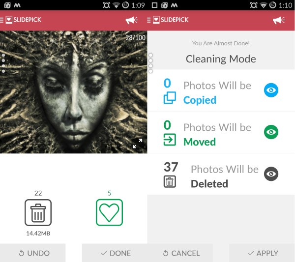 SlidePick screens SlidePick for Android lets you clean up your photo gallery, Tinder style